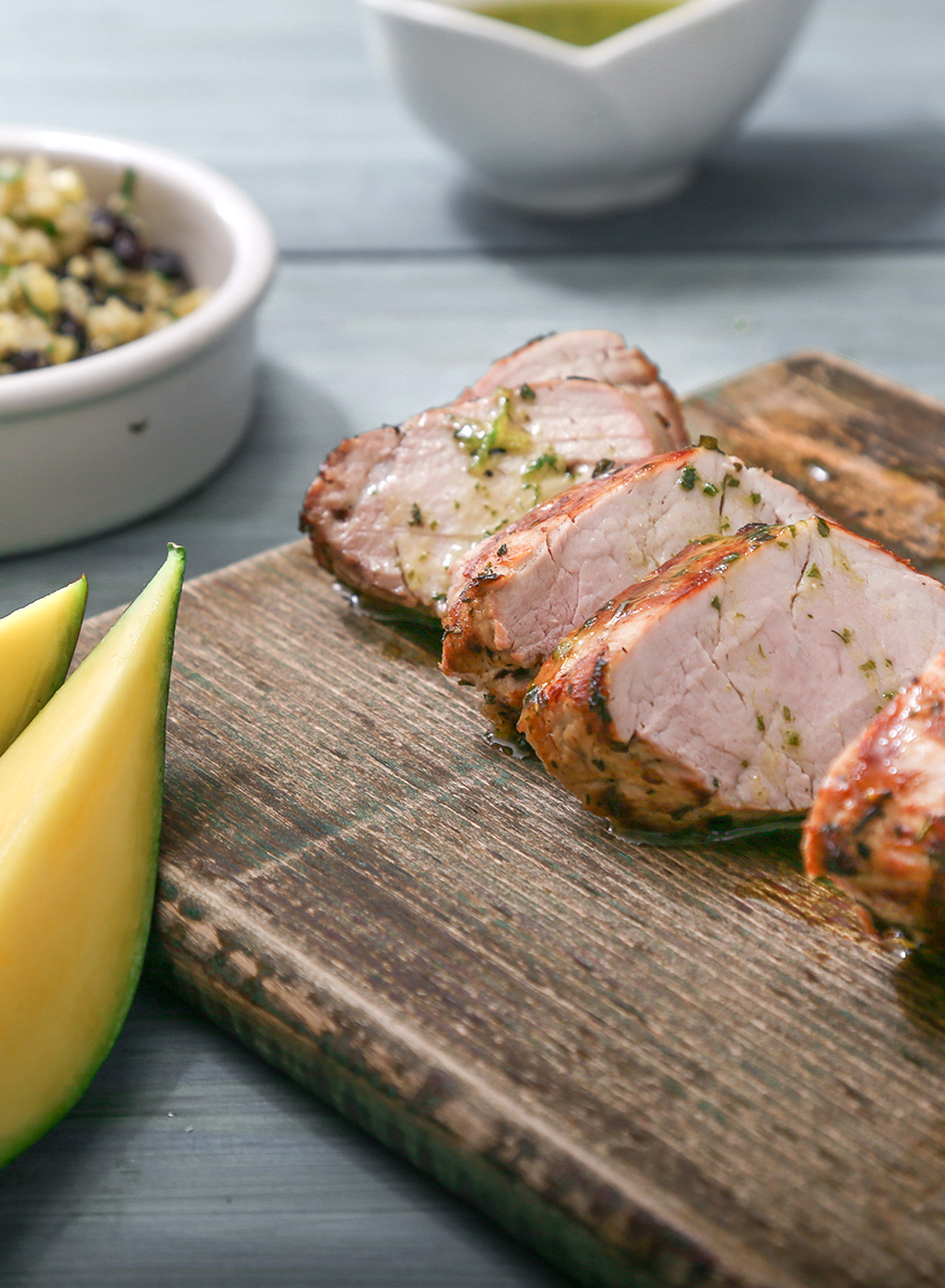 Pork tenderloin En Elladi, with herbal vinaigrette and exotic quinoa with mango